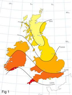 Special feature panel-Map showing average solar radiation in UK