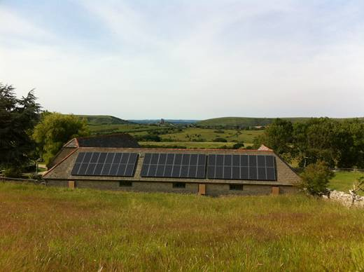 solar panel-A 12kW Sanyo HIT250 system near Corfe Castle.