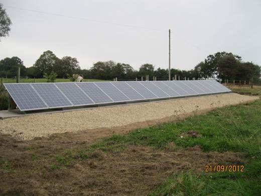 solar panel-A four kW ground mount system in Lytchett Matravers